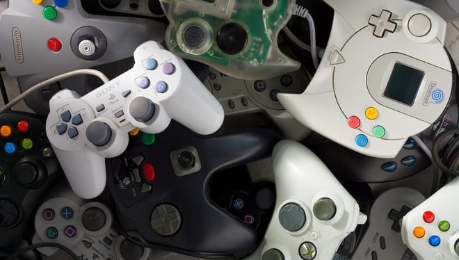 Game controllers  from Sony, Sega, Nintendo, Microsoft and others. Older video game systems are hot on the resale market as collectors seek items no longer in production.