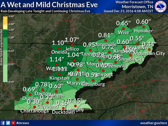 Rainfaill amounts expected on Saturday, Dec. 24, 2016.