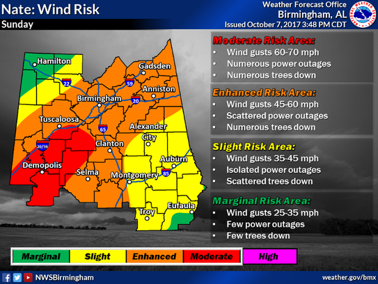 Expected wind risk as of 3:48 p.m. CT