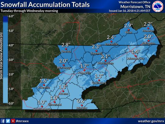 Expected snowfall amounts on Tuesday, Jan. 16, 2018.