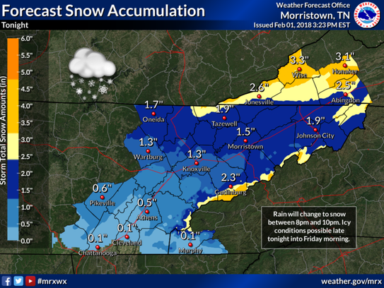 NWS forecast for East Tennessee. Feb. 1, 2018