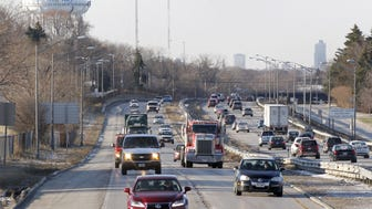 Traffic travels along I-43 south of Green Tree Road in Fox Point in 2014.