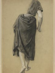 "Adolf Hiremy-Hirschl (Hungarian, 1860-1933), ""Study of a Figure Walking Away,"" c. 1895, chalk on paper, 20 1/2 x 13 1/2 inches. Gift of Charles S. Moffett '67"