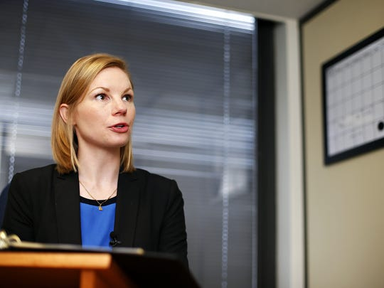 Missouri State Auditor Nicole Galloway speaking with the media during a visit to Springfield in May. Galloway returned to Springfield Tuesday to speak about a new audit on the city of Miller released Tuesday.