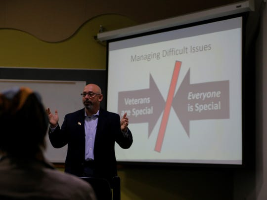 Dr. David Joseph providing his lecture at Hartnell's Veterans in the Classroom workshop.