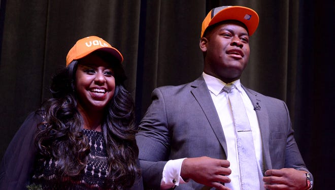 Ashley Smith joined her brother, University School of Jackson senior lineman Trey Smith, on stage for his announcement to commit to University of Tennessee on Tuesday, Dec. 6, 2016.