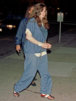 "In this Sept. 8, 1995 file photo, Rachelle ""Shelley"" Shannon arrives for sentencing in Federal Court in downtown Portland"