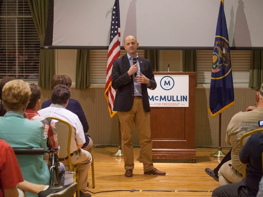 Evan McMullin speaks with local supporters at a campaign rally in St. George Saturday, Oct. 15, 2016.