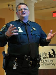 Brevard County Sheriff Wayne Ivey was the keynote speaker at  a luncheon of the Greater Palm Bay Chamber of Commerce, held at a packed room at the Life Care Center of Palm Bay.
