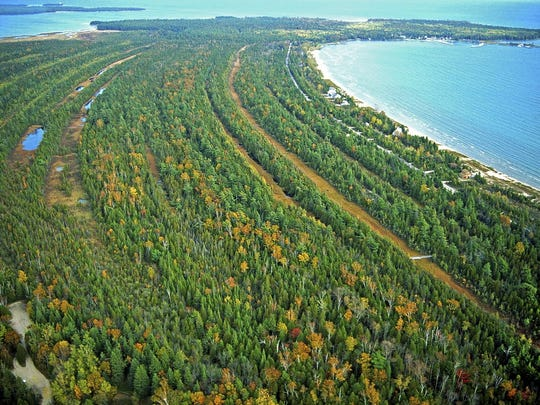 """An aerial view of the shorelines at The Ridges Sanctuary in Baileys Harbor photographed by Douglas Sherman, part of his newly published photography book""""The Ridges Sanctuary: An Intimate View."""""""