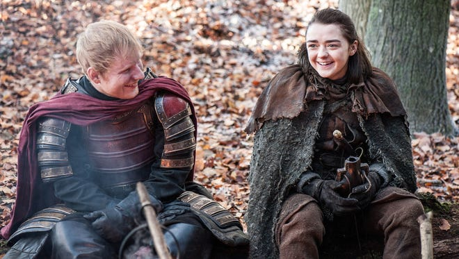 Ed Sheeran appeared in Sunday's Season 7 'Game of Thrones' premiere with Maisie Williams as Arya Stark.