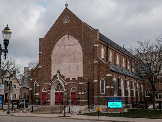St. Paul's Episcopal Church in Lansing held it's first service in the sanctuary in more than a year on Easter Sunday, April 1, 2018. The south-facing wall with the huge stained glass window started separating from the wall in a strong wind on March 8, 2017.
