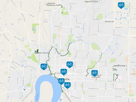 Evansville's bike-sharing stations.