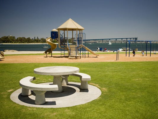 Children's playground by the sea, San Diego, California, USA