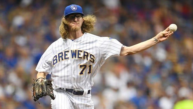 Brewers pitcher Josh Hader has been impressive out of the bullpen this season, but he could go back to being a starter next season.
