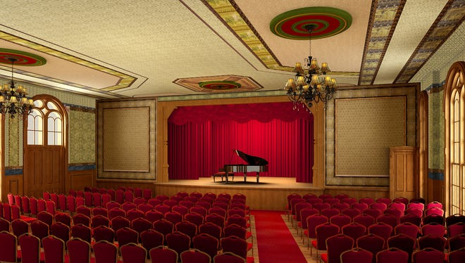 A rendering of the newly renovated performance area on the third floor of the Delphi Opera House.