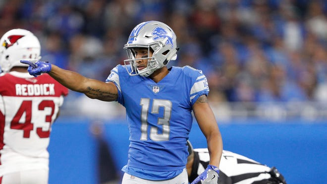 Lions receiver TJ Jones celebrates after a catch in the fourth quarter against the Cardinals at Ford Field on Sept. 10, 2017.