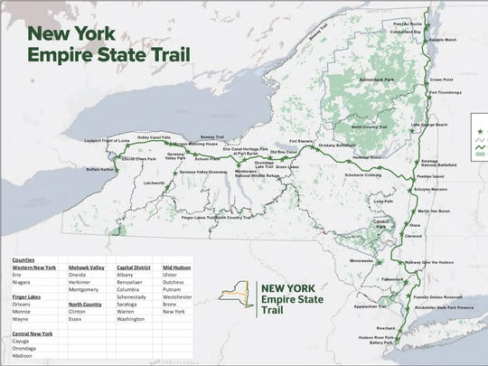 The proposed 750-mile Empire State Trail will pass through 26 counties and many key attractions.