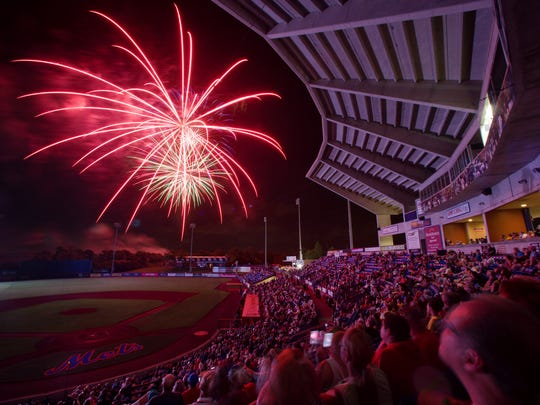 Fireworks follow a St. Lucie Mets baseball game at First Data Field in Port St. Lucie.