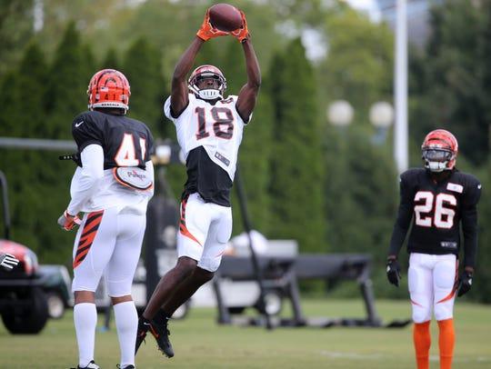 Cincinnati Bengals wide receiver A.J. Green (18) leaps
