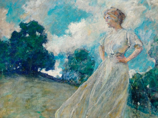 """The oil painting """"Summer Breezes"""" by American impressionist"""