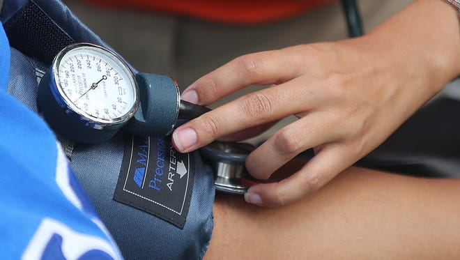 High blood pressure is a major risk factor for heart disease. Hypertension is BP greater than or equal to 130/80 mm Hg.