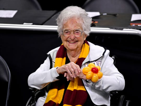 Loyola Ramblers team chaplain Sister Jean before the
