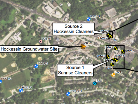 A satellite image of Hockessin shows suspected sources of groundwater pollution. The EPA in January proposed adding the area to its list of Superfund sites.