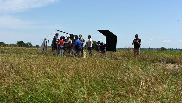Filmmakers prepared to shoot the first scene in a short