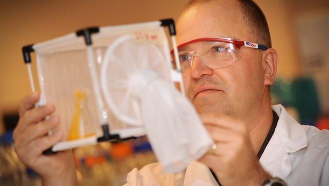 Professor Immo Hansen examines a mosquito trap.