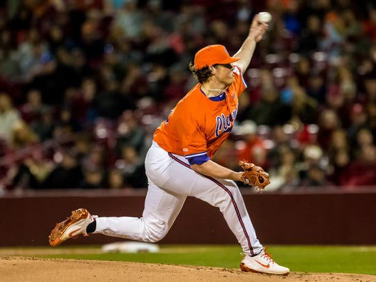 Clemson Tigers pitcher Jacob Hennessy (32) pitches against the South Carolina Gamecocks during the first inning at Founders Park.