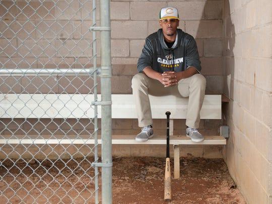 Portrait of Clearview baseball coach Rolando Gautier.
