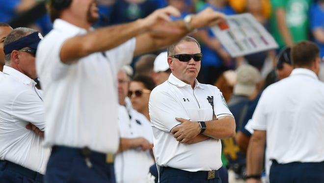 Notre Dame coach Brian Kelly reacts on the sideline in the second quarter during Saturday's loss to Duke Blue Devils.