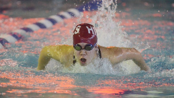 Passaic County Swimming Championship: Wayne Hills' Cassandra Lee in the 100 Butterfly on Saturday.
