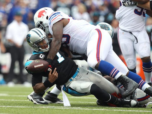Panthers QB Cam Newton was sacked 6 times, this time it was Marcell Dareus.