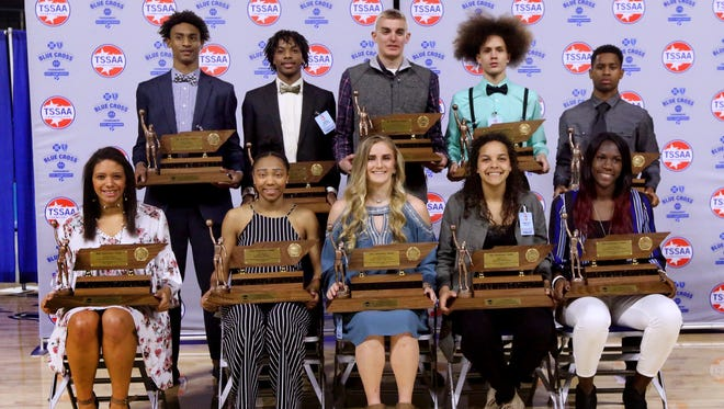 Mr and Miss Basketball players were awarded at MTSU on Tuesday, March 6, 2018. Front row (L to R) Division II-A Miss Basketball winner Ashton Hulme, University School of Jackson, Division II-AA Miss Basketball  winner Sydni Harvey, Brentwood Academy, Class A Miss Basketball winner Courtney Pritchett, Pickett County, Class AA Miss Basketball winner Akira Levy, Upperman, and Class AAA Miss Basketball winner Rhyne Howard, Bradley Central. Back row (L to R) Division II-A Mr. Basketball winner Keon Johnson, The Webb School, Division II-AA Mr. Basketball winner Darius Garland, Brentwood Academy, Class A Mr. Basketball winner Caden Mills, Van Buren County, Class AA Mr. Basketball winner Kadrion Johnson, Marshall County and Class AAA Mr. Basketball winner Tyler Harris, Cordova.