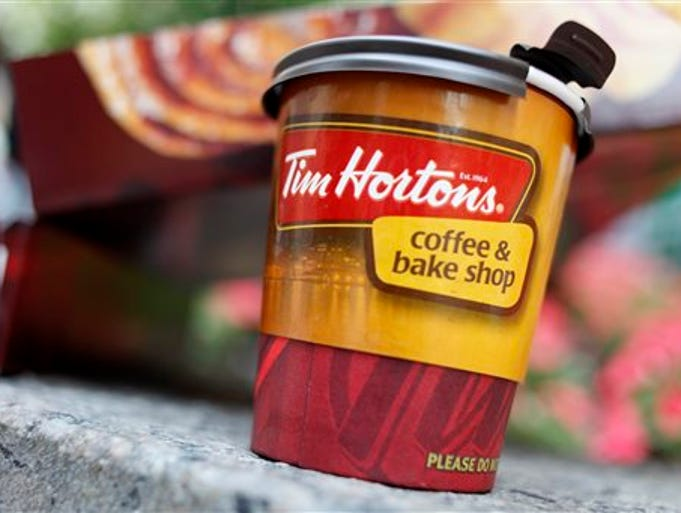 In this Wednesday, July 22, 2009, file photo, a Tim Hortons coffee cup is seen in New York. Burger King is in talks to buy Tim Hortons in hopes of creating a new, publicly traded company with its headquarters in Canada. With a new base in Canada, Burger King, now based in Miami, could shave its U.S. tax bill. The majority owner of Burger King, 3G Capital, would own the majority of shares of the new company.  Tax inversions have become increasingly popular among U.S. companies trying to cut costs. Inversions allow companies to transfer money earned overseas to the parent company without paying additional U.S. taxes. That money can be used to reinvest in the business or to fund dividends and buybacks, among other things.