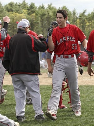 Former Silver Lake Regional High star Anthony Videtto, shown here celebrating a home run, will train to become a physical therapist after his college baseball career was cut short by the coronavirus pandemic this spring. Wicked Local Staff File Photo/Alyssa Stone