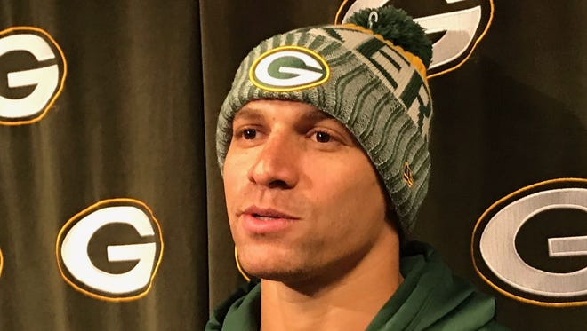 Green Bay Packers tight end Jimmy Graham talks with the media on Tuesday, April 17, 2018 at Lambeau Field.