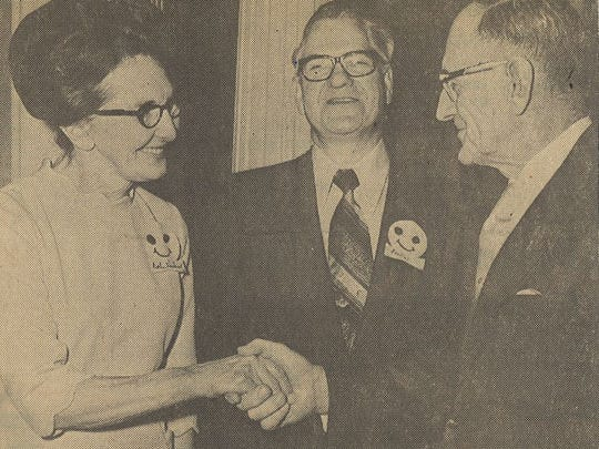 State Sen. Walter G. Hollander, right, congratulates Wendell and Esther Haskins during the annual Foster Parents Night Recognition program at the Retlaw Motor Inn in this May 20, 1972 Fond du Lac Reporter photo. The couple was recognized for serving as foster parents for 30 years.