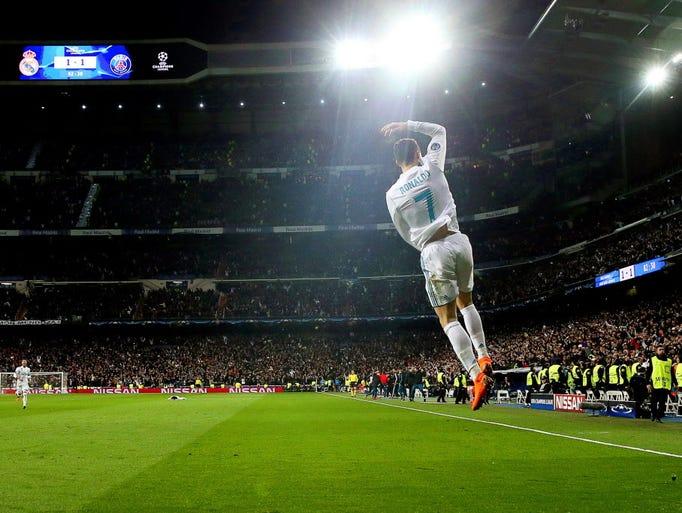 Real Madrid's Cristiano Ronaldo celebrates after scoring