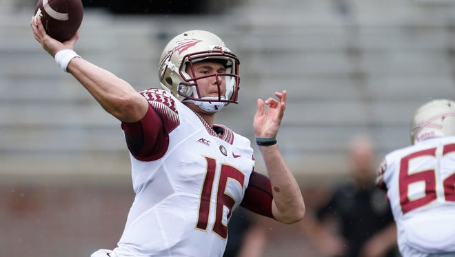 J.J. Cosentino throws the ball during the Garnet and Gold spring game at Doak Campbell Stadium on Saturday.