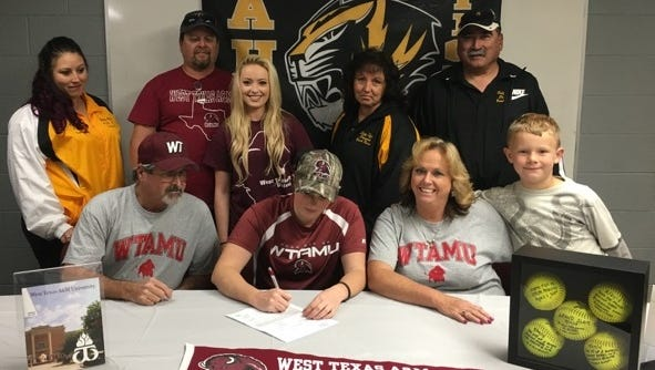 Alamogordo's Sierra Gentry signed her National Letter of Intent to play softball at West Texas A&M on Thursday afternoon at the AHS athletic office in front of friends, family and coaches. Gentry batted .452 while driving in 36 RBIs on 42 hits. She also hit seven homers while compiling a 3-1 record with a 3.99 ERA and 23 strikeouts in the circle.