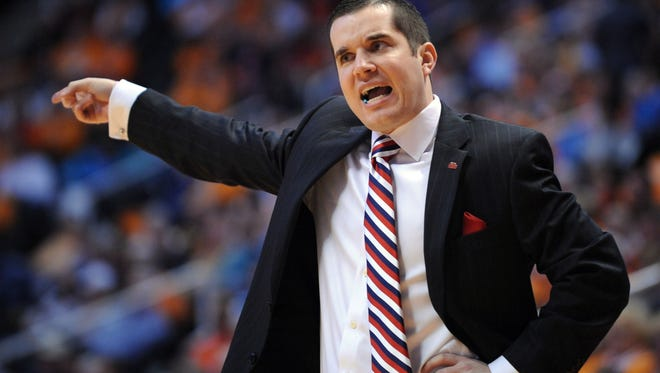 Ole Miss Lady Rebels head coach Matt Insell reacts during the first half against the Tennessee Lady Volunteers at Thompson-Boling Arena.