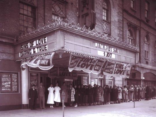 Vander Vaart Theater, 1934 showing the movie Sins of
