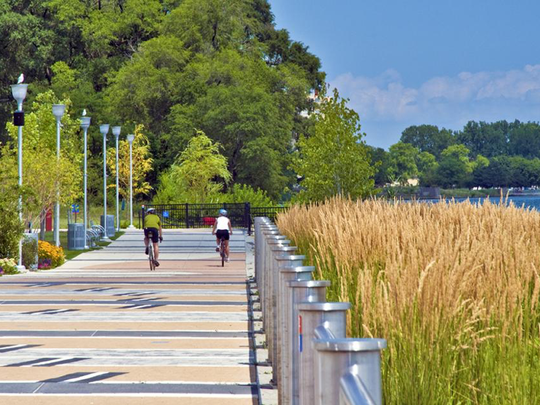 Gabriel Richard Park is the easternmost point for the Detroit Riverwalk and offers a spectacular view of Belle Isle.