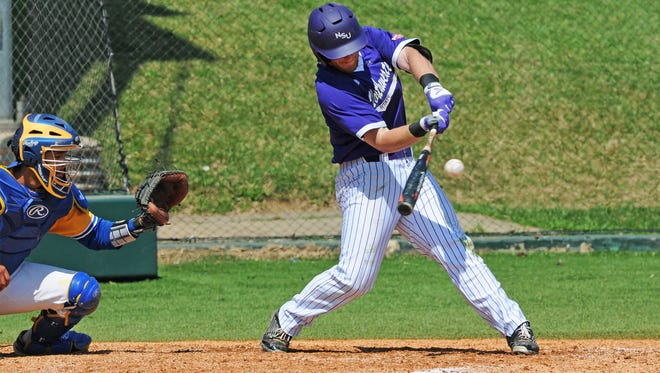 Northwestern State senior Cort Brinson connects on a pitch earlier this season.