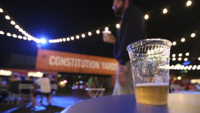 The Constitution Yards Beer Garden at the Wilmington Riverfront is shown.