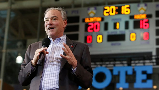 Democratic vice presidential nominee, Tim Kaine, D-Va., speaks during a campaign rally at Kenyon College in Gambier, Ohio, Thursday, Oct. 27, 2016.
