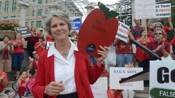Patsy Keever appears at a 2012 protest seeking more school funding.